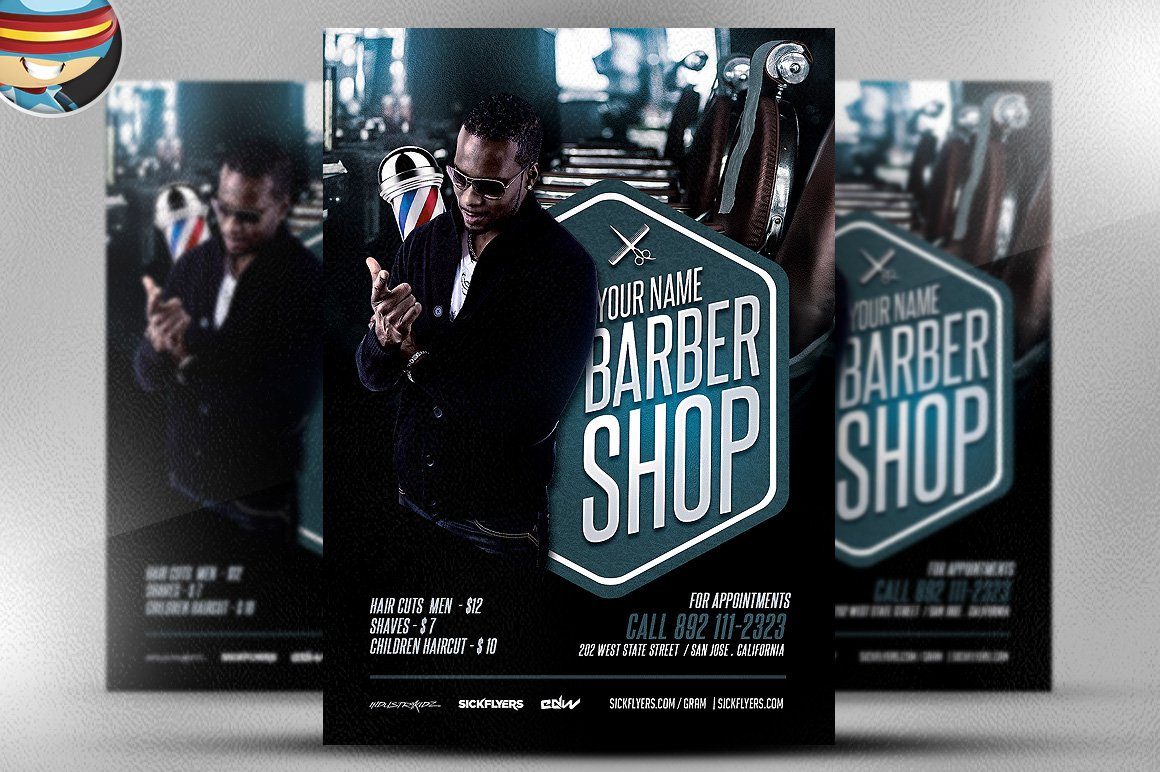 barber 39 s shop flyer template flyer templates creative market. Black Bedroom Furniture Sets. Home Design Ideas