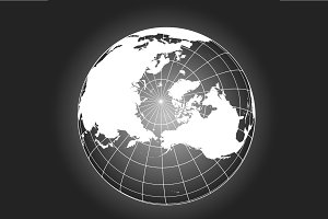 North pole vector map b/w