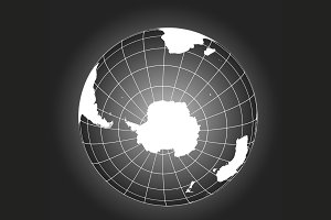 Antarctica and South pole vector map