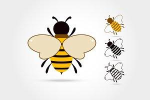 set of Bee logo icon isolated