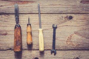 Old repair and handwork tools