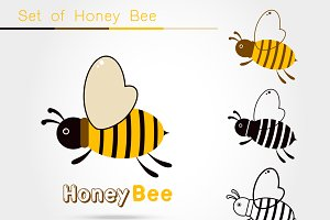 Bee icon isolated
