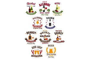 Alcohol drinks badge set for bar, wine shop design