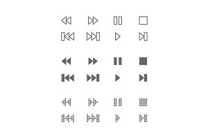 Video and audio interface icons