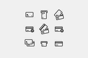Plastic bank card icon set