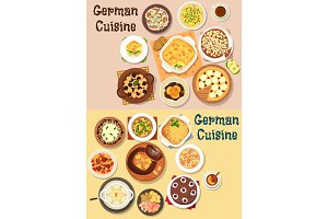 German cuisine dinner icon set for menu design