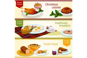 British cuisine traditional dishes banner set