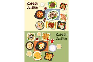 Korean cuisine traditional lunch icon set