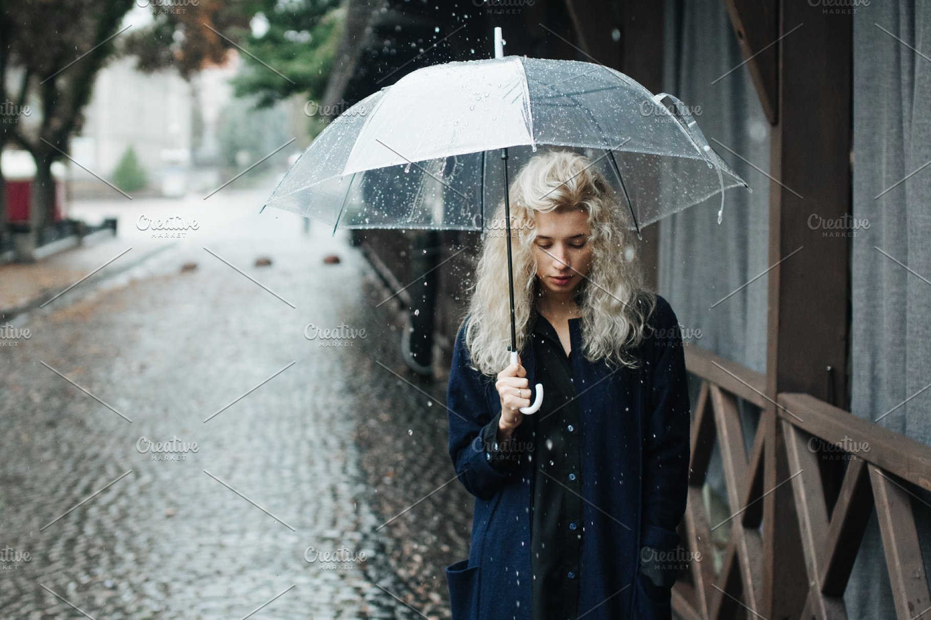 71f73fe0d3293 blonde woman with umbrella ~ People Photos ~ Creative Market