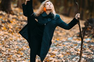 Woman in an autumnal landscape