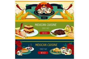 Mexican cuisine banner set with snack and dessert