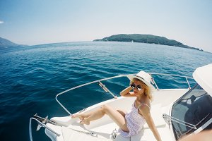 Attractive girl on a yacht