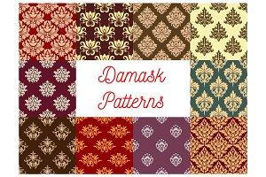 Damask floral ornament seamless pattern set