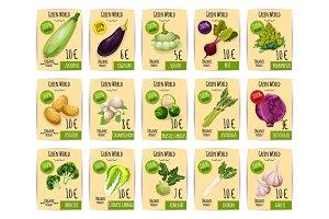 Organic vegetable price tag or label set design