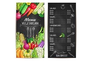 Vegetarian restaurant menu chalkboard with veggies
