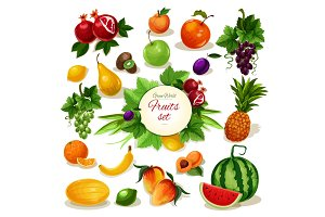 Organic fruit poster for food, juice, drink design
