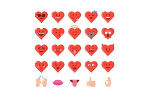 Valentine's day emoticon icon set