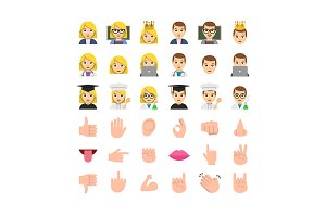 Flat design people emoticon set