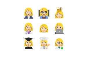 Flat emoticon style woman icons