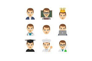 Flat emoticon style man icons