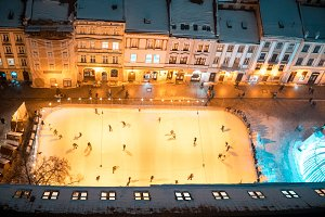 ice skating rink on the square