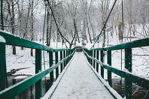 bridge in the park leading over the river