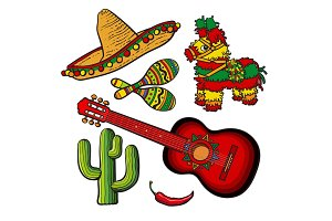 Mexican set sombrero, pinata, maraca, cactus, chili and spanish guitar