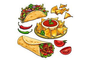 Set of traditional Mexican food - burrito, taco, nachos, salsa