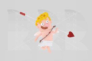 Cupid holding a big arrow