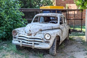 "Old rusty Soviet car ""Victory"". Rare exhibit"