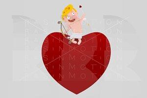 Cupid sitting on a big heart