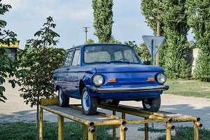 Old car Zaporozhets. Restored vintage car. The legacy of the Sov