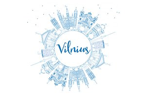 Outline Vilnius Skyline