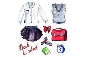 School pupil clothes uniform set