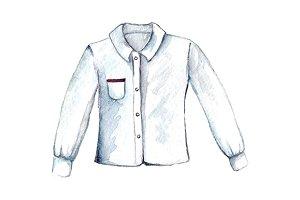 Watercolor white shirt blouse