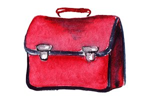 Watercolor red school bag isolated