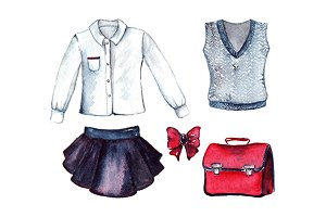School pupil clothes uniform set