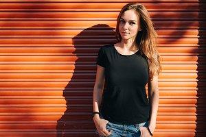 Beautiful girl wearing black t-shirt