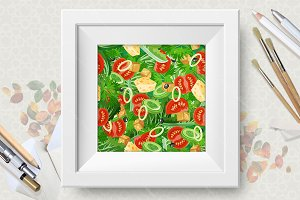 Food seamless patterns set