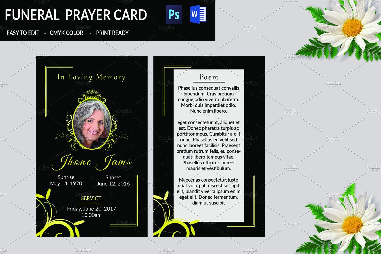 funeral prayer card template v665 card templates creative market. Black Bedroom Furniture Sets. Home Design Ideas