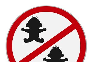 no kids allowed sign, vector