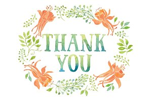 Thank you tag, orange flowers wreath