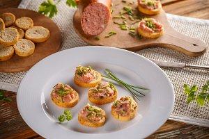 Bruschetta with meat spread