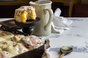 Fresh Baked homemade Cinnamon Roll with creamy frosting