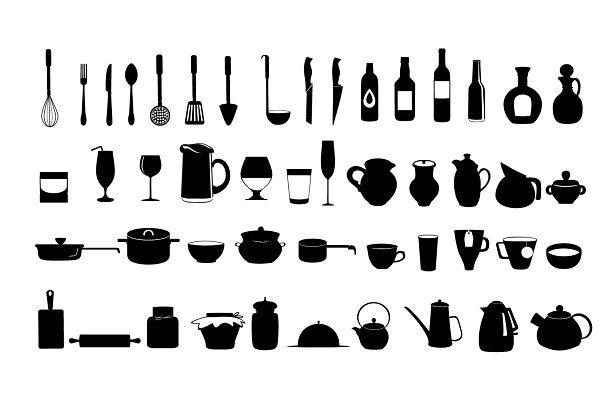 Kitchen  and cooking utensils icons