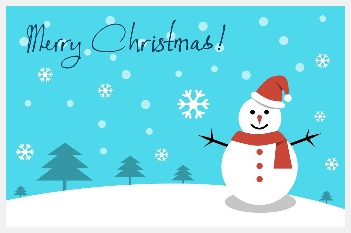 Christmas card - Happy snowman ~ Illustrations ~ Creative Market