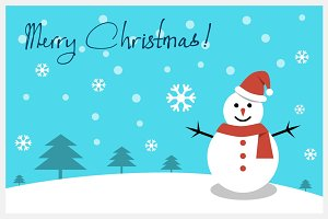 Christmas card - Happy snowman