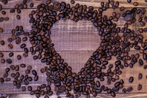 Coffe beans in heart shape