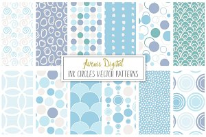 Ink Circles and Dots Vector Patterns