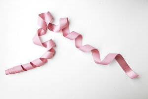 Pink curly ribbon
